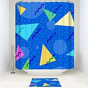 ezon-ch impermeable moderna buen moho resistencia niños Colorful triangular Circular patrón geométrico poliéster farbic baño ducha conjunto ducha Curatin con Felpudo alfombra