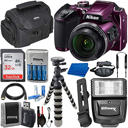 Nikon COOLPIX B500 Digital Camera (Plum) with Essential Accessory Bundle – Includes: SanDisk Ultra 32GB SDHC Memory Card, Rechargeable Batteries (8-AA) & Dock Charger, Digital Slave Flash & Much More