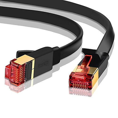 IBRA 6 Feet CAT 7 RJ45 Ethernet LAN Network Cable / CAT7 (Advanced) / 10Gbps 600MHz / S/STP Molded Network / Gold Plated Plug STP wires / Ethernet Patch LAN Router Modem /Flat Black -