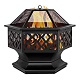 Outdoor Fire Pit Garden Light Firepit Backyard BBQ Grill Fire Pit Bowl with Mesh Spark Screen Cover (24', Hexagonal Shaped)