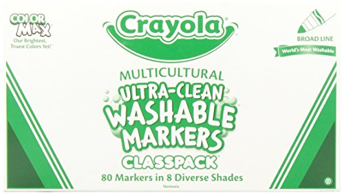 Crayola; Classpack; Ultra-Clean; Multicultural Broad Line Markers; Art Tools; 80 Markers in 8 Different Colors; Washable (Skinnies Pipsqueaks Markers)