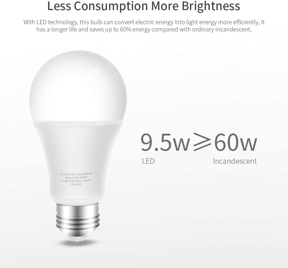 Smart LED Bulb WiFi Multicolor Light Bulb Compatible with Alexa No Hub Required E26 A19 60W Equivalent RGBW Color Changing Echo White 2700K Dimmable 9.5W UL Listed 4 Pack Google Home and IFTTT