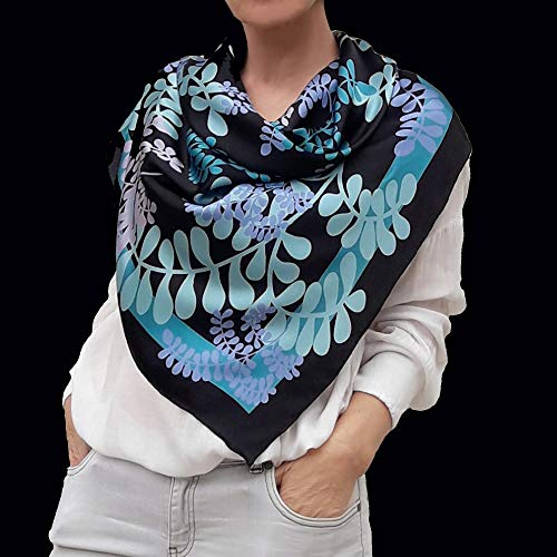 Designer Square Silk Scarf Hand Painted and Printed in Black and Turquoise Blue, Large Neckerchief, Head Shawl, Gift for Lady