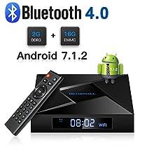 Globmall Android 7.1 TV Box, 2GB RAM 16GB ROM Bluetooth 4.0 Smart Android Tv Box 2018 Model X4 with Quad Core CPU 64 Bits Supporto Vero 4K Full HD /H.265