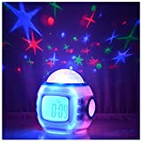 Sky Star Night Light Projector Lamp Bedroom Alarm Clock With music Backlight Calendar Thermometer for Children Kids Birthday Gift