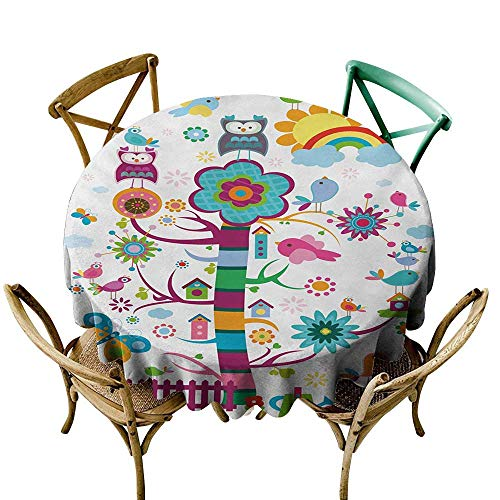 Wendell Joshua Outdoor Tablecloth 39 inch Nursery,Nature Caricature with Funny Looking Birds and an Abstract Colored Tree Gardening,Multicolor Printed Indoor Outdoor Camping Picnic Circle Table Cloth ()