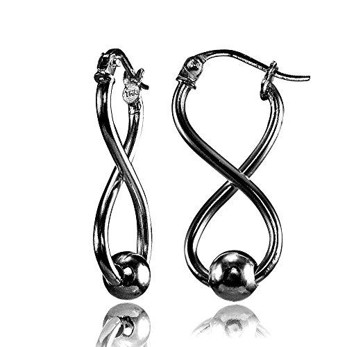 Silver Sterling Figure - Black Flashed Sterling Silver Infinity Figure 8 Bead Drop Earrings