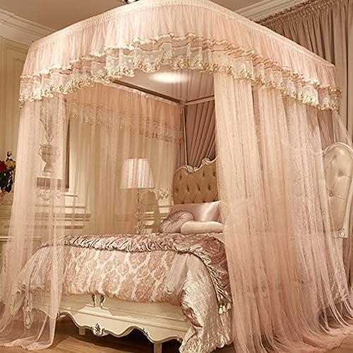 姫ベッドキャノピー,の-形の刺繍 防蚊ネット ヨーロピアンスタイル 1のためのステンレス鋼サポートが付いている暗号化糸のベッドのカーテン.5 1.8 M ベッド-b