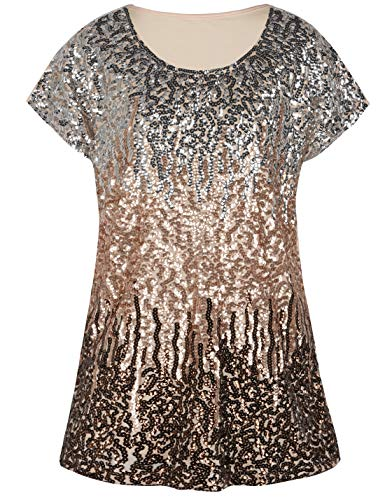PrettyGuide Women's Evening Tops Sparkle Shimmer Glam Sequin Blouse Silver/Rose Gold/Coffee XL/US18-20