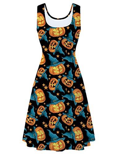 uideazone Women's Sleeveless Scoop Neck Halloween Pumpkin Midi A Line Tank Dress