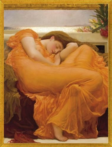 1art1® Frederic Lord Leighton Poster Art Print and Frame (MDF) Victorian Gold - Flaming June (32 x 24 inches)
