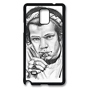 Fashionable Harry Styles DIY Design Printed Protective Hard Case Cover for Samsung Galaxy Note 4 - One Piece Back Case Shell Black 022206