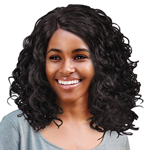 "Search : Brazilian Curly Wigs for African American Black Women,Afro Kinky Lace Front Wig Heat Resistance Synthetic Fiber 16"" Black"