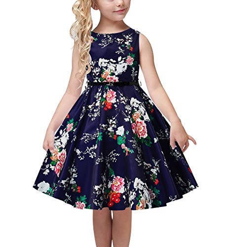 uideazone School Child Swing Dress Round Neck Cute and Comfy Playwear 3D Floral Pleated Dresses with Belt for Girls Antistatic Gorgeous Outfit 10-11 Years Blue -