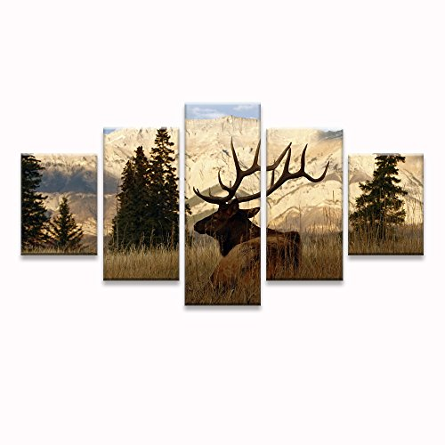 Nature Calligraphy Animal Scenery Deer/Elk Wall Art Canvas Prints Art Home Decor for Living Room Abstract Pictures Pictures 5 Panel Large HD Printed Painting Framed Ready to Hang