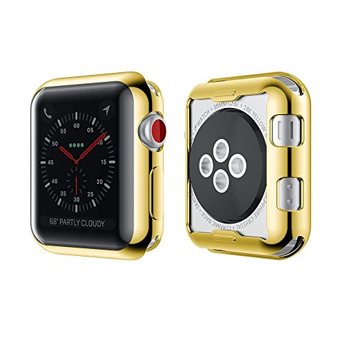 iWatch Protective Cover Silm Soft Silicone Gel TPU iWatch 360 Whole Body Apple Watch Screen Protector for 38/42mm Series 1 2 3 (38mm, Gold)