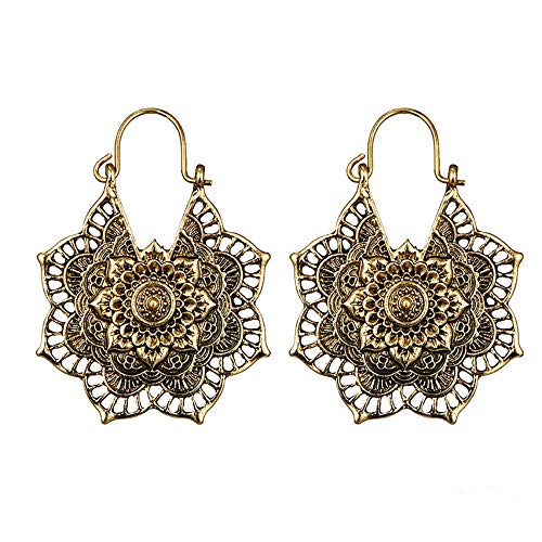 Floral Pendant Clip Earrings - Boho Vintage Tribal Tibetan Gypsy Dangle Indian Earrings for Women Girl Tribal Hollow Floral Pendant Earring Clips