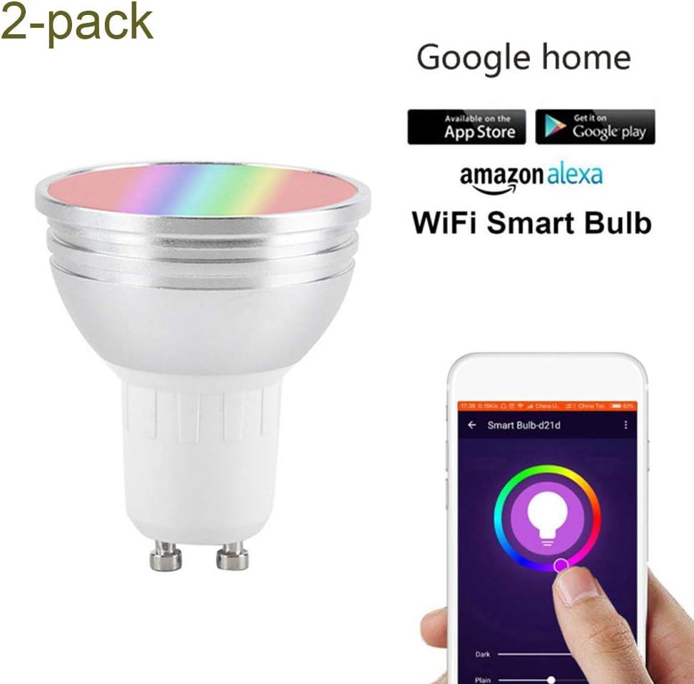 JUMRO GU10/ GU5.3 Bombilla LED Colores (2 Pack) Bombilla WiFi ...