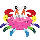DOUYYE Preschool Children Education Wooden Crab Shape Blocks Jigsaw Puzzles,Indoor Outdoor Kids Play Game,Interactive Letter Number Gifts Toys for 3 4 5 year old and Up Boys and Girls Toddlers Babies