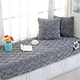 CAMAL Short Plush Thickened Non-slip Bay Window Pad/Windowsill Mat/Sofa Mat/Sofa Cushion (70x150cm, Gray)