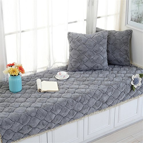 CAMAL Short Plush Thickened Non-Slip Bay Window Pad/Windowsill Mat/Sofa Mat/Sofa Cushion (70x150cm, Gray) (Sill Window Seat)