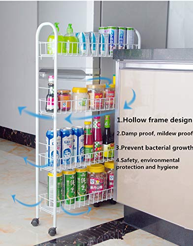 Yontree 4-Tiers Kitchen Storage Cart Gap Storage Rack Mesh Wire Basket Rolling Cart on 4 Wheels