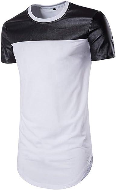 Barkoiesy Camiseta para Hombre Blusa de Manga Corta con Cuello Redondo y Remiendo Cuello Redondo Print Estilo Casual Running/Gym/Deporte: Amazon.es: Ropa y accesorios