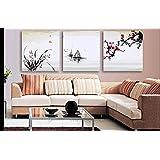 Bernice-Canvas Arte,3p Art Deco Arte moderna astratta muro dipinto su tela con prugna, pittura di stile cinese, vendita calda di modo della decorazione della casa, allungato e con cornice