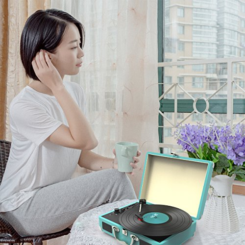 Record Player, MSTING Turntable Bluetooth for Vinyl Record 3 Speed with Two Dual Stereo Speakers Belt Drive Turntable with Headphone, RAC,USB/SD Card Recording by MSTING (Image #5)