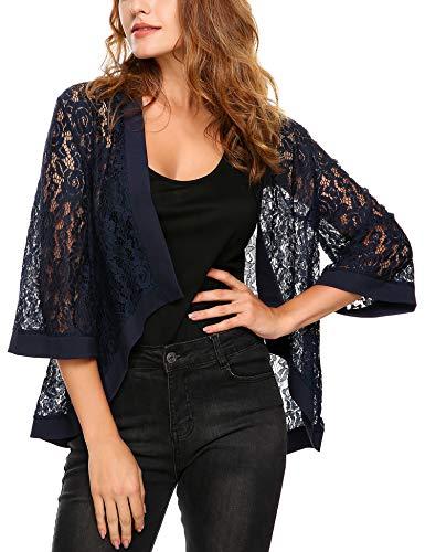 Dealwell Women's Lace Cardigan Lightweight 3 4 Sleeve Dressy Shrug Summer Jacket 3 4 Sleeve Jackets