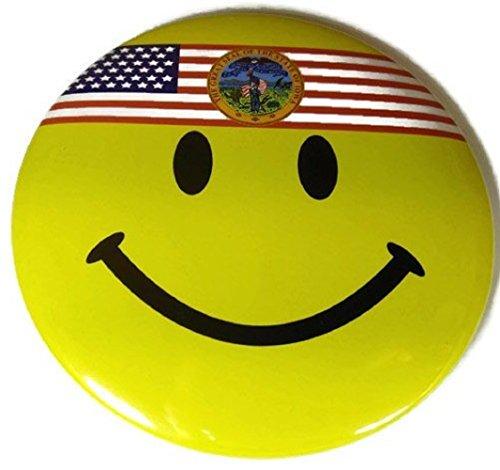 """Chic 4 in 1 Emoticon GREAT SEAL IOWA IA US Flag Jumbo Badge Button Pin 3.75"""" (Wigs Minneapolis)"""