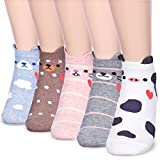 Fall in Love Animal Charater Casual Sneakers Socks (Onesize, 5 Pairs)