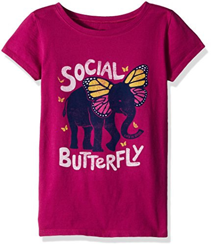 Large Butterfly Graphic (Life Is Good Girl's Crusher Social Butterfly, Sassy Magenta, Large)