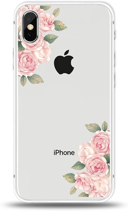 Freessom Coque iPhone 6/6s Silicone Fleurs Rose Pale Feuille Transparente Motif Original Retro Dessin Couleur avec La Pomme Souple TPU Anti Choc Chic ...