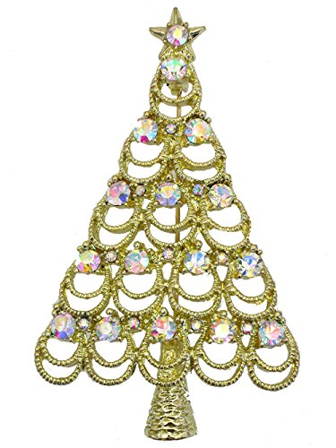 Crystal Rhinestone Christmas Tree Pin - Faship Gorgeous AB Crystal Gold Metal Christmas Tree Pin Brooch
