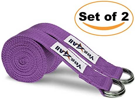 Yes4All Set of 2 - 8ft Yoga Strap with D-ring Set