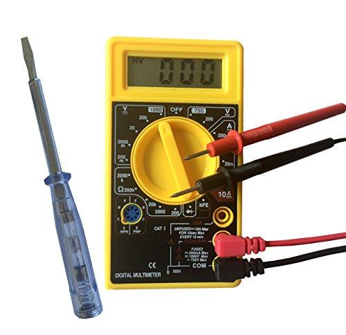 Tyger Tools YT-0830 Multimeter + GRATIS Spannungsprüfer - Messung von Spannung, Strom und Widerstand schwarz/gelb - Digitalmultimeter