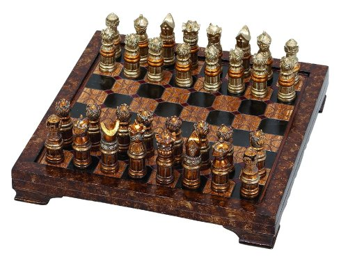 Unique Medieval Chess Set With Game Board Antique Chess Table