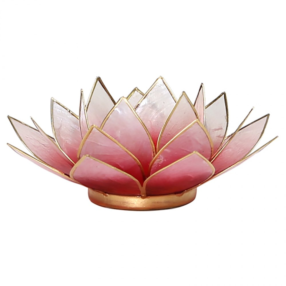 Lotus Tea Candle Holder Capiz Shell Light Red Gold Trim Something Different Find Something Different