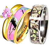 his her 14k gold plated pink camo titanium and sterling silver heart engagement wedding rings - Pink Camo Wedding Rings For Her