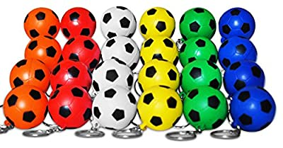 Novel Merk 24 Multi-Color Soccer Sports Ball Keychains Pack Includes Red, White, Yellow, Orange, Green, & Blue for Kids Party Favors & School Carnival Prizes