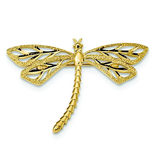 41.5mm 14k Diamond-cut Polished and Satin Dragonfly Pin by JewelryWeb