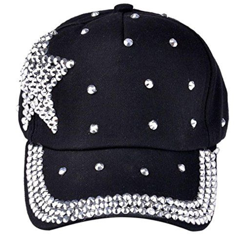 Fullkang Boy Girls Bling Rhinestone Star Shaped Baseball Cap Snapback Hat (Black) ()