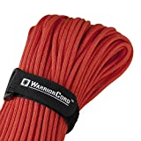 TITAN WarriorCord | RED | 103 CONTINUOUS FEET | Exceeds Authentic MIL-C-5040, Type III 550 Paracord Standards. 7 Strand, 5/32'' (4mm) Diameter, Military Parachute Cord.