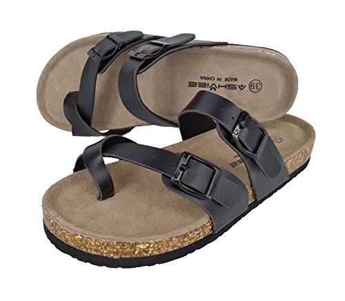 Footbed Cork Sandals Beach Ashviee Sandals Slide Black 1qWzRO