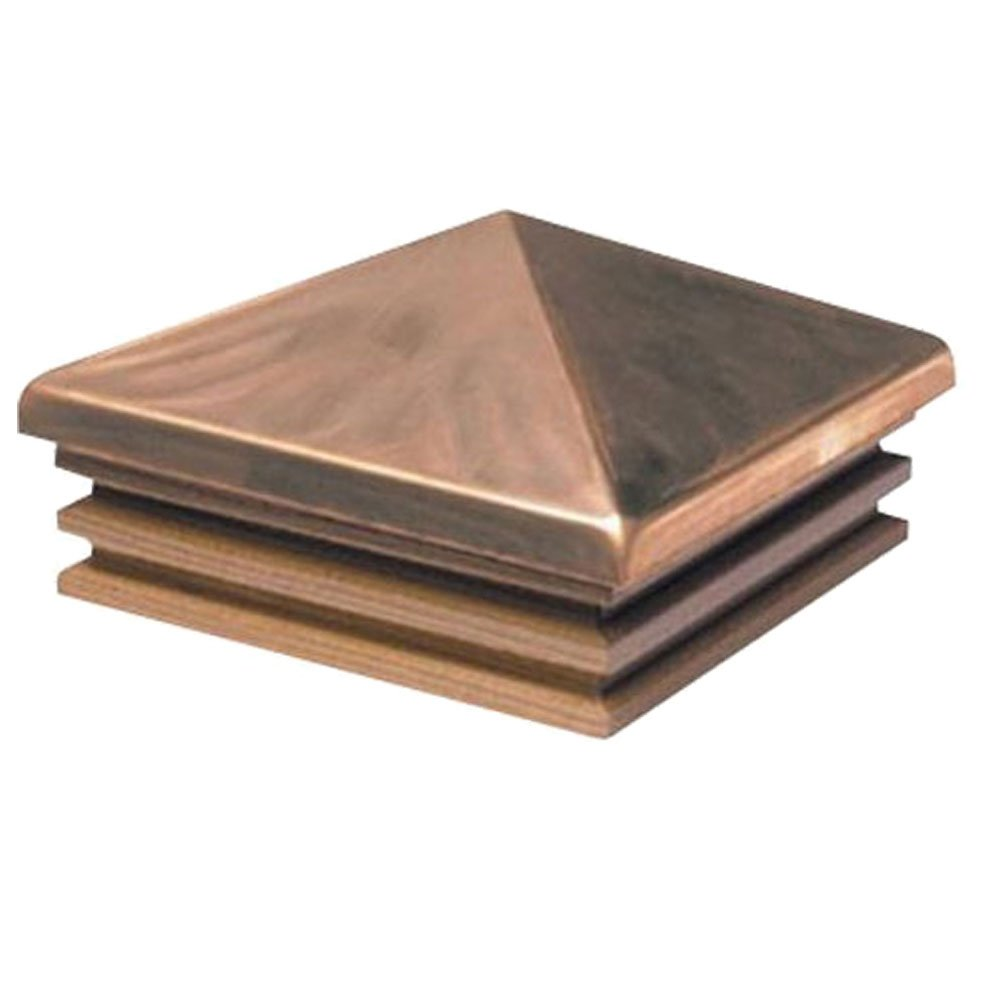 Woodway Pyramid Copper Post Cap 6 x 6 – Mission Style With Cedar Base Fence Cap for Garden, Deck and Patio, 1 PC