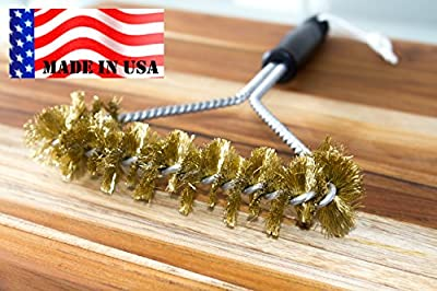 BBQ Grill Cleaning Brush -MADE IN USA -Heavy Duty Real BRASS extra wide two levels of bristles are soft safe for Porcelain Enamel grates by Backyard Dudes