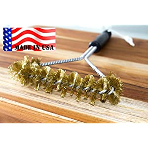 BBQ Grill Cleaning Brass Brush 12 inch - MADE IN USA Real American BRASS extra wide two levels of bristles are soft safe for Porcelain Enamel grates by Backyard Ddudes