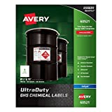 "Avery Ultra Duty GHS Chemical Labels for Pigment Inkjet Printers, Waterproof, UV Resistant, 8.5"" x 11"" (60521)"