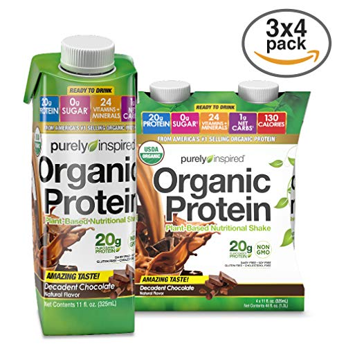 Cheap Purely Inspired Organic Protein Shake, Ready to Drink, 20g Plant Based Protein, No Sugar, Low Carbs, Naturally Flavored, Decadent Chocolate, 12 Servings (12 x 325mL)